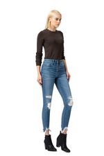 High Rise Button Up Fray Sharkbite Hem Crop Skinny