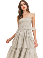 Smocked Bodice Tiered Dress With Belt