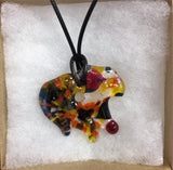 Abstract Fused Glass Pendant Necklace