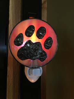Night Light - Paw Print on Pink Iridescent Glass