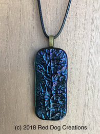 Beautiful Fused Glass Necklace Juniper Blue