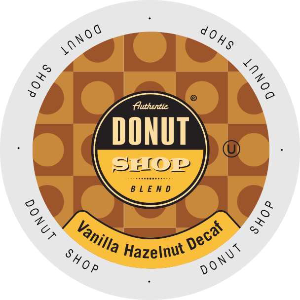 Authentic Donut Shop DECAF Vanilla Hazelnut flavored coffee, k-cup 2.0 compatible