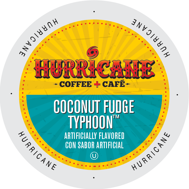 Hurricane Coffee Coconut Fudge flavored coffee, k-cup 2.0 compatible