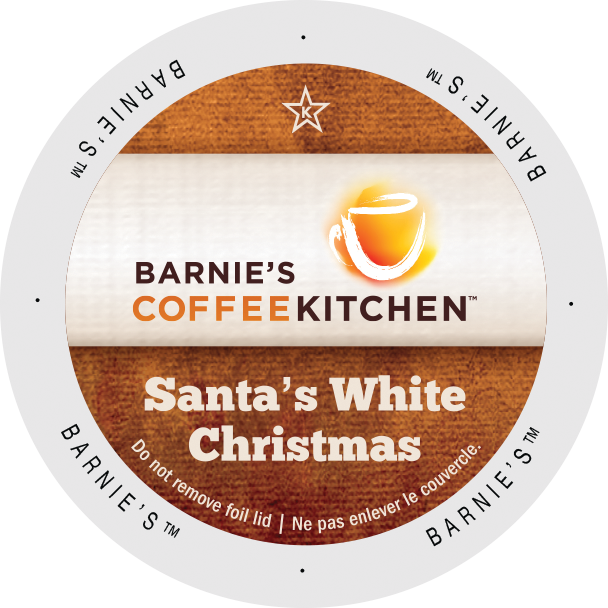 Barnies Coffee Kitchen Santa's White Christmas flavored coffee, k-cup 2.0 compatible
