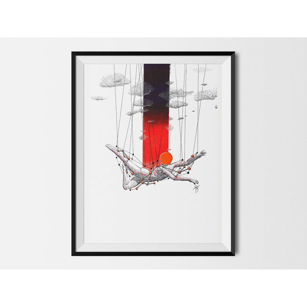 Framed Illustration 'Dance' by Yassine Mourit | The Villusion