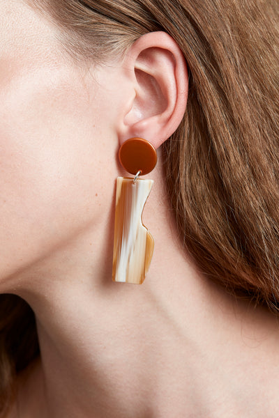 VESSEL EARRINGS IN TANGELO CHROME