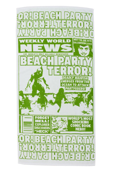 "FAKE NEWS ""BEACH PARTY TERROR"" BEACH TOWEL"