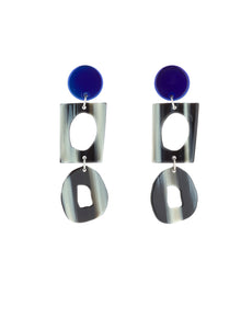 COLLECTOR EARRINGS IN AZURE CHROME