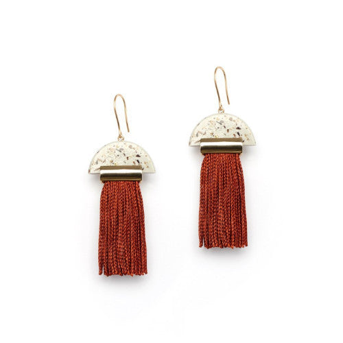 GRAVITY TASSEL EARRINGS - LIGHT GRANITE