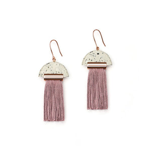 GRAVITY TASSEL EARRINGS - ASH DUST / MAUVE