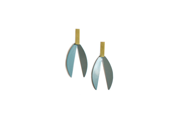 LOTUS EARRINGS IN VINTAGE TEAL/BRASS