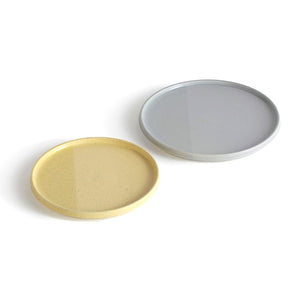 GREY & YELLOW PLATE SET