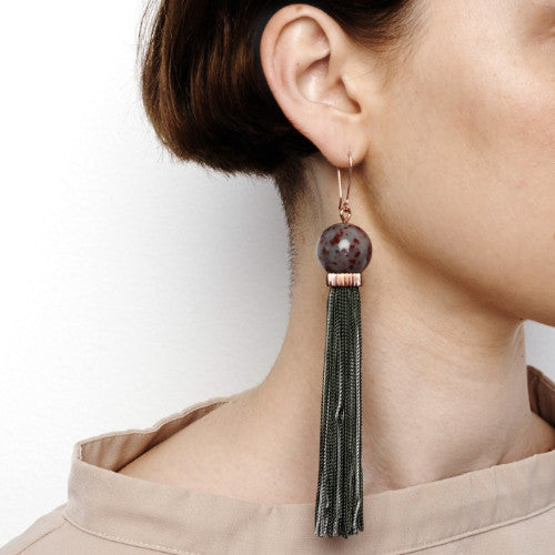TREMBLE TASSEL EARRING - SEA MIST