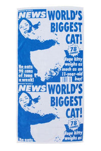 "FAKE NEWS ""WORLDS BIGGEST CAT"" BEACH TOWEL"