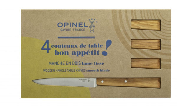 WOODEN HANDLE TABLE KNIVES SET OF FOUR