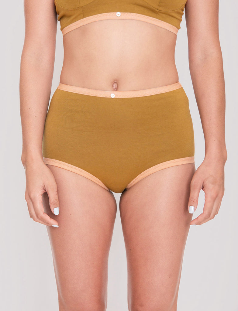 Astra Hi-Waist Brief- Fennel - Organic Cotton