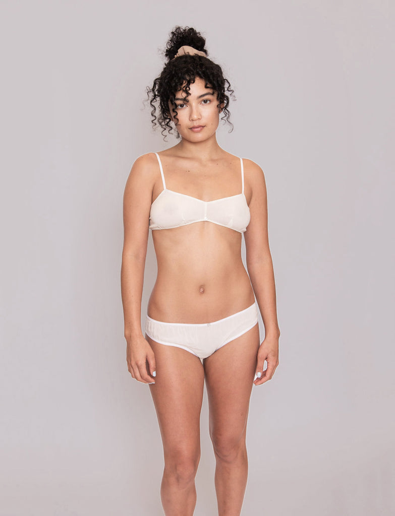 Flora Bikini Brief- White- Stretch Silk
