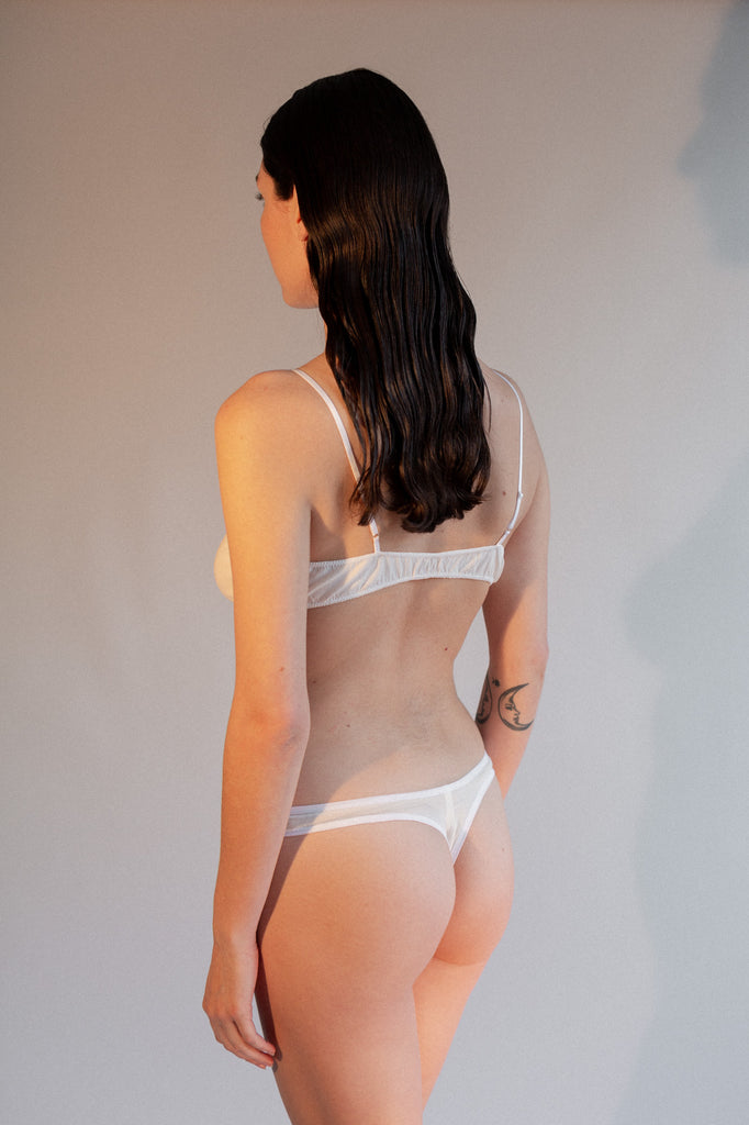 Helia Thong - White - Stretch Silk