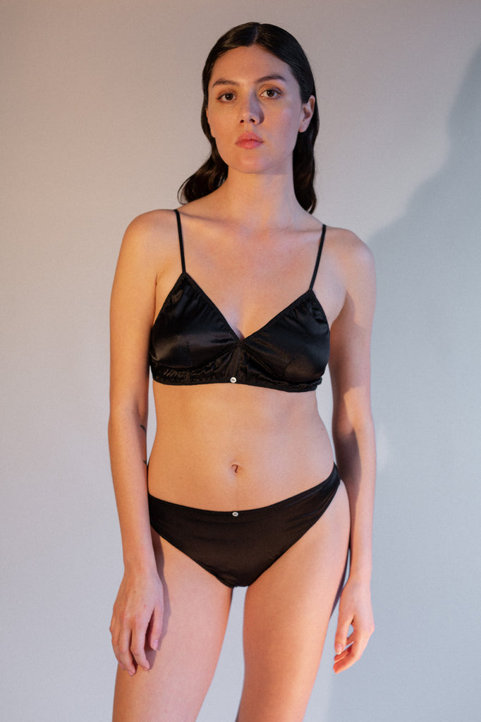 Vina Bralette - Black Pearl - Stretch Silk
