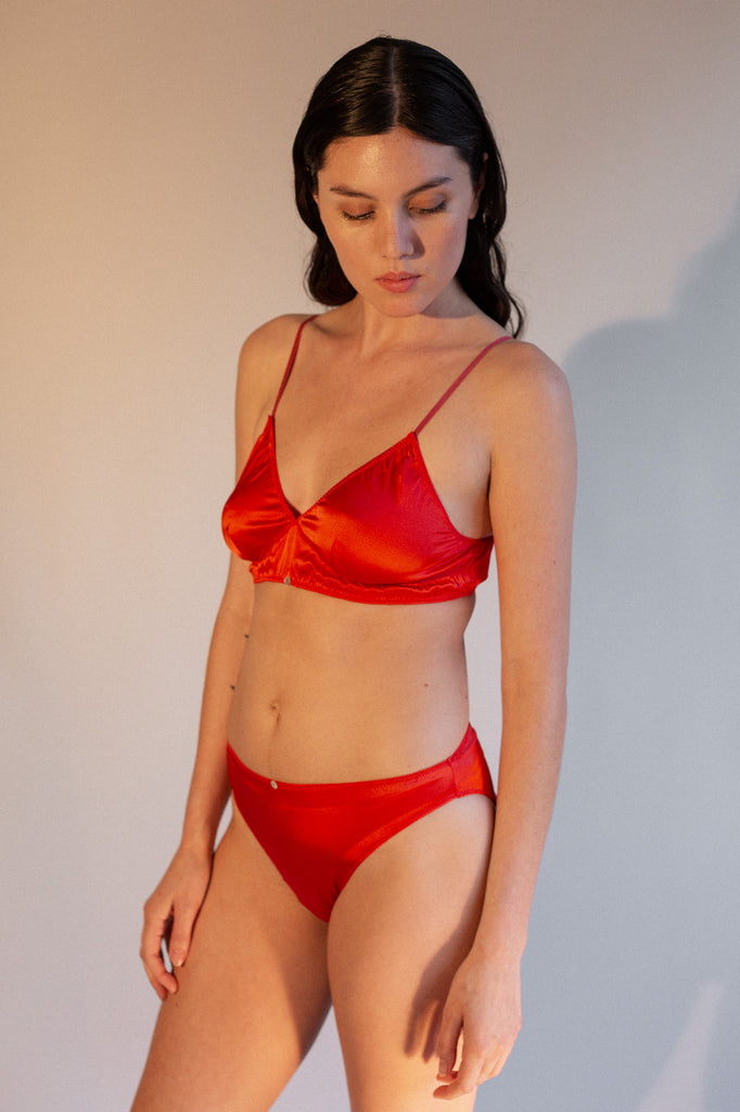 Rio Brief- Scarlet - Stretch Silk