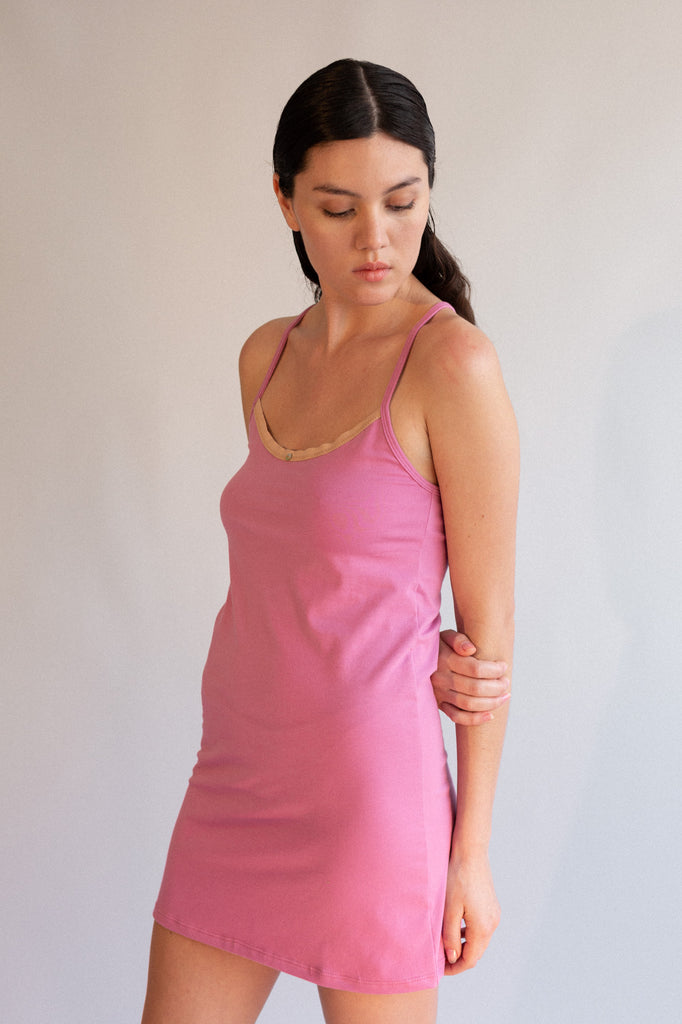 Daisy Cami Dress - Rose - Organic Cotton