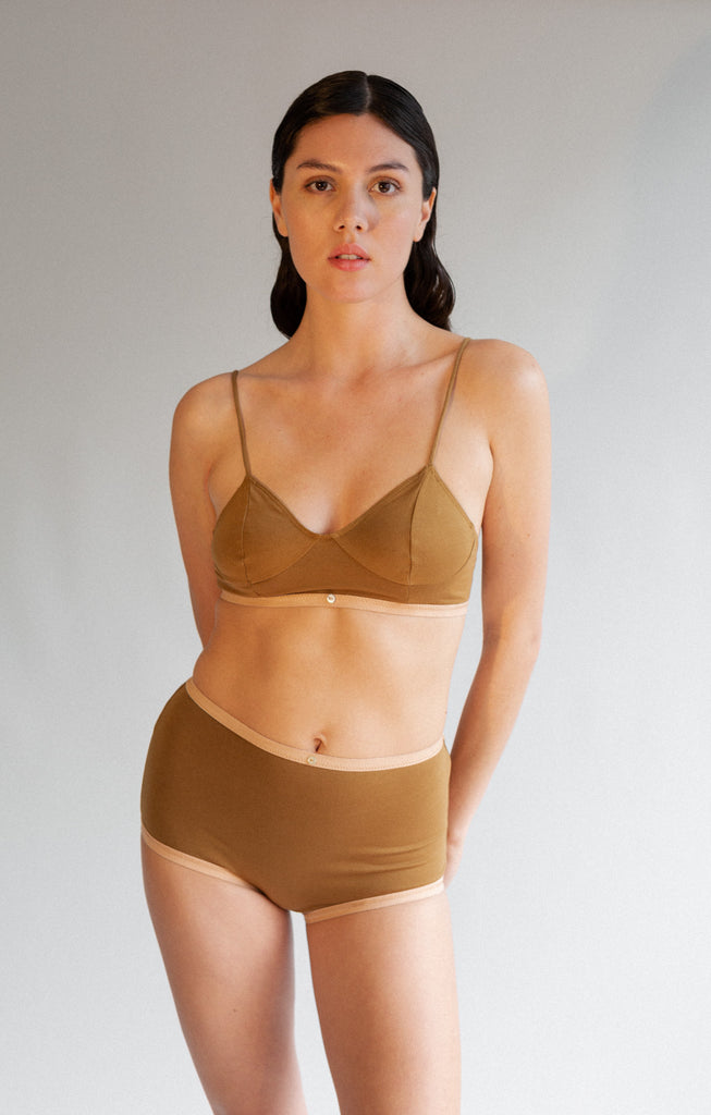 Aya Bralette - Fennel - Organic Cotton