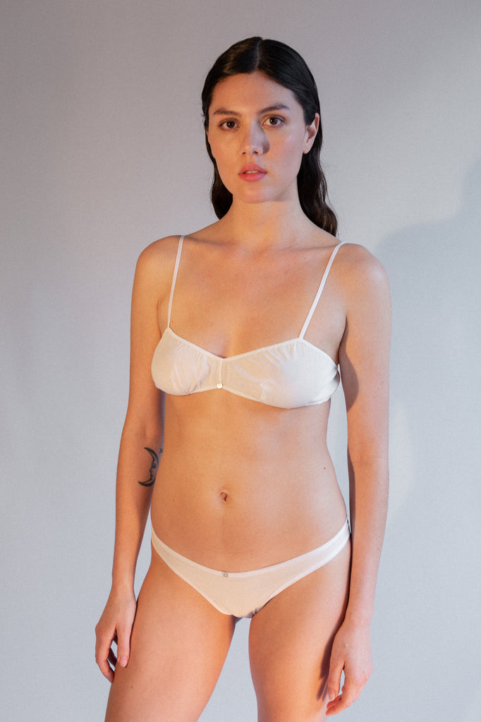 Helia Thong - White- Stretch Silk