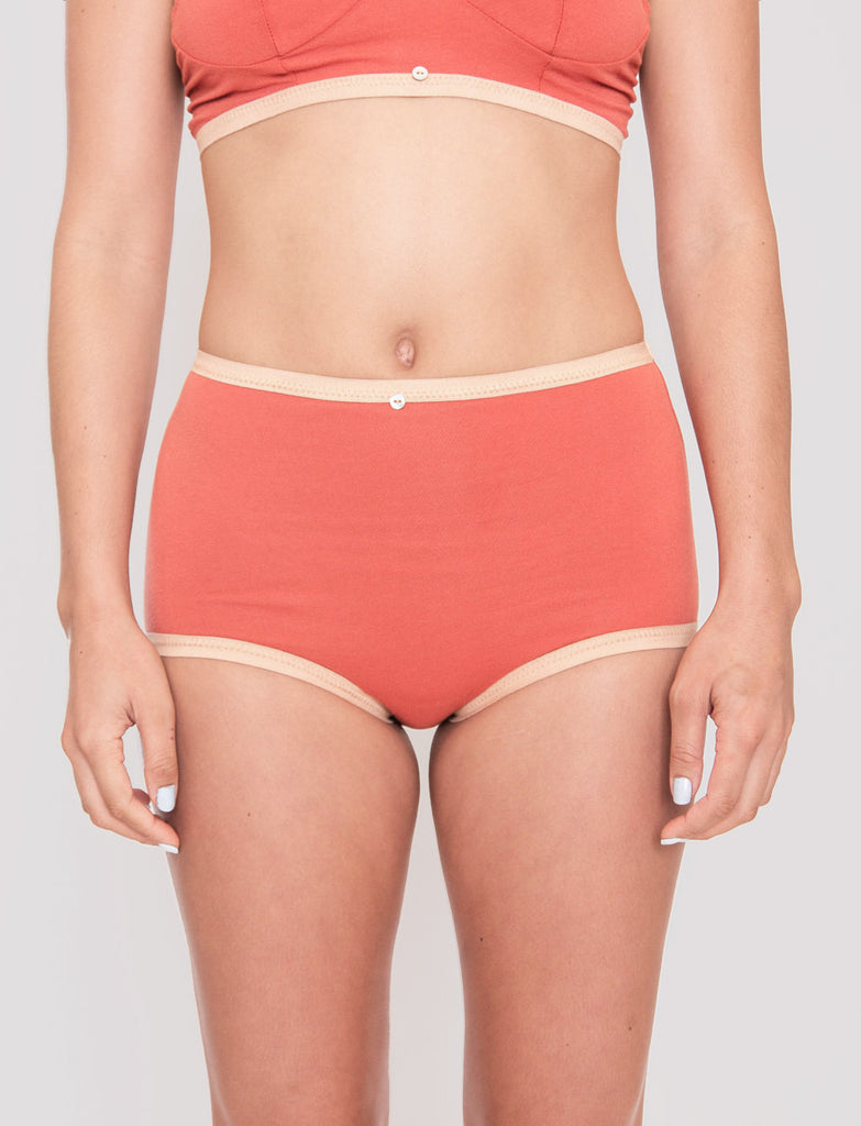 Astra Hi-Waist Brief- Goji- Organic Cotton