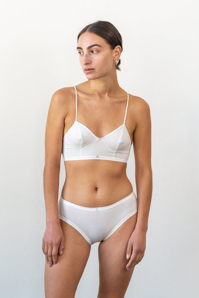 Aya Bralette - White - Organic Cotton