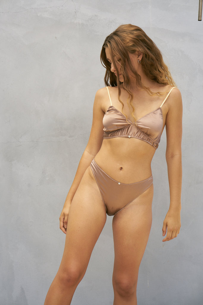 Vina Bralette- Cocoa- Stretch Silk