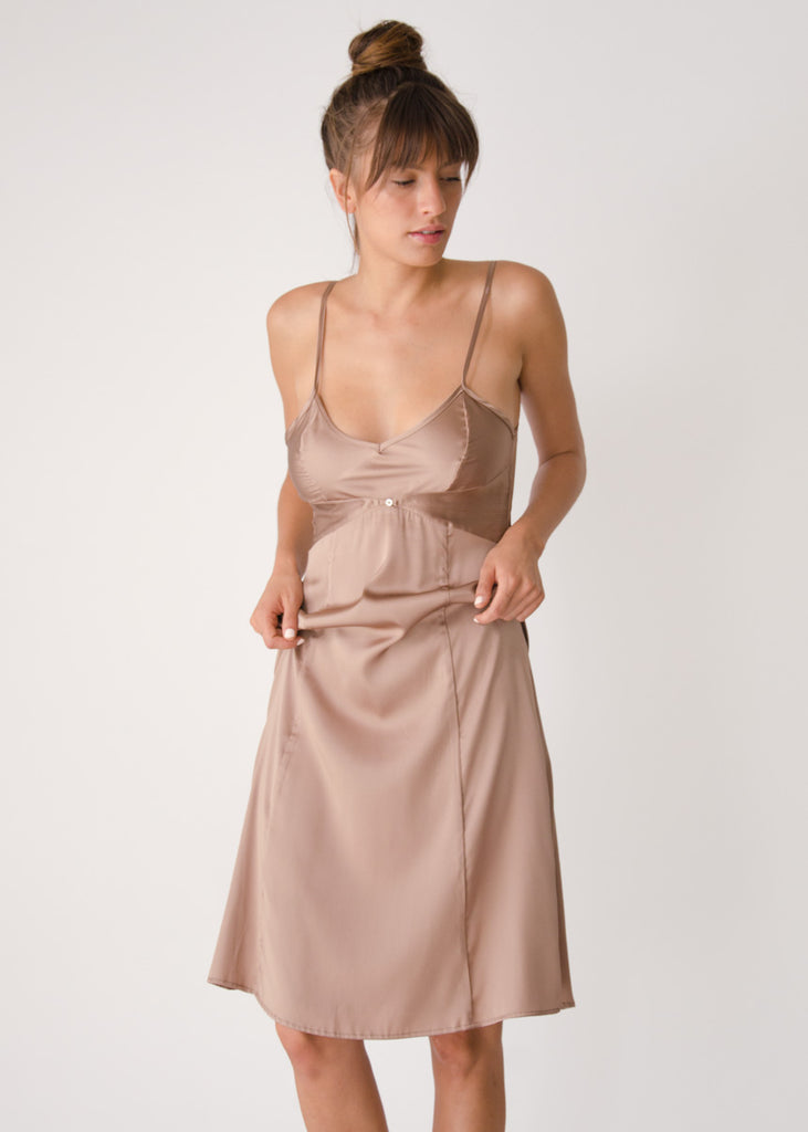Vetiver Slip Dress- Cocoa