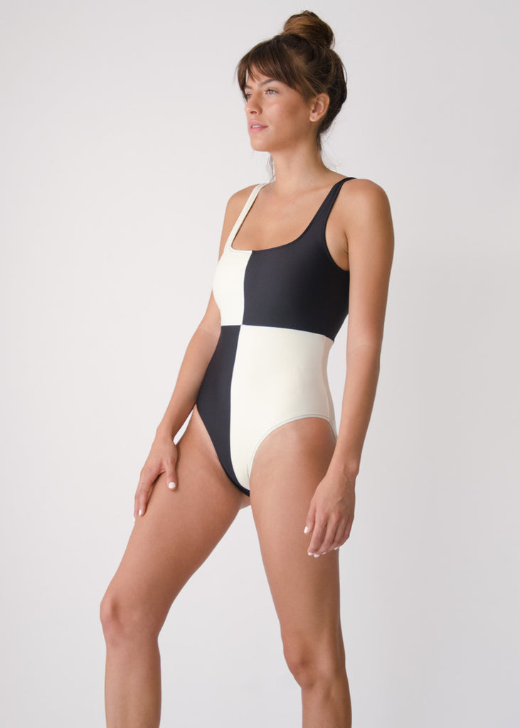 Rika Swimsuit- Shell/Black- Recycled Nylon