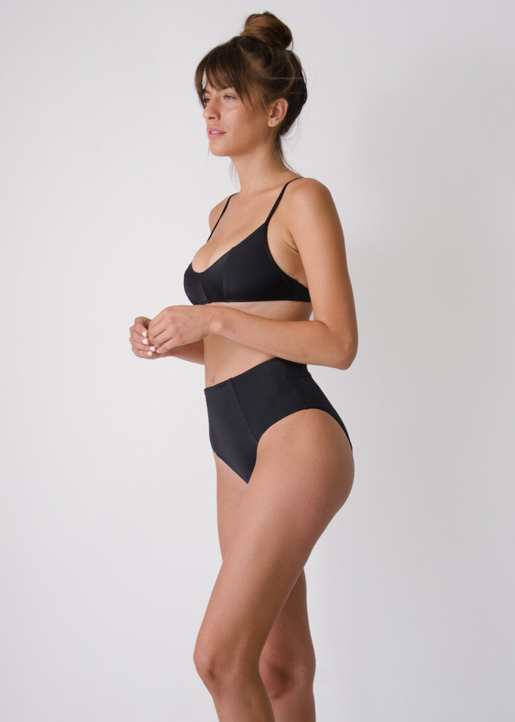 Botan Swim Top- Black- Recycled Nylon