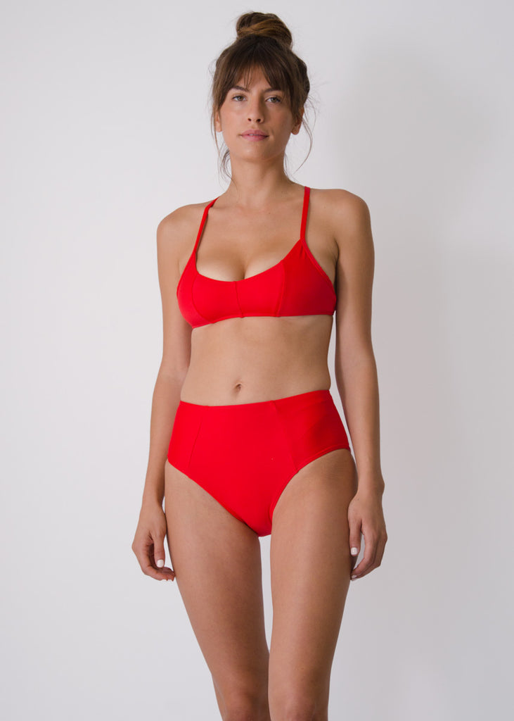 Botan Swim Top- Scarlet - Recycled Nylon