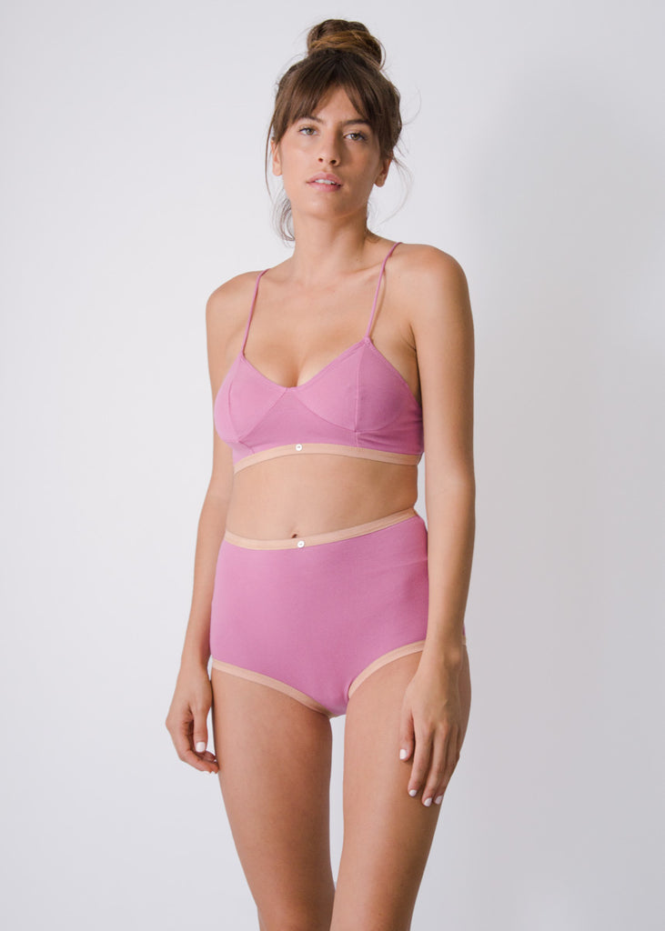 Aya Bralette - Rose - Organic Cotton
