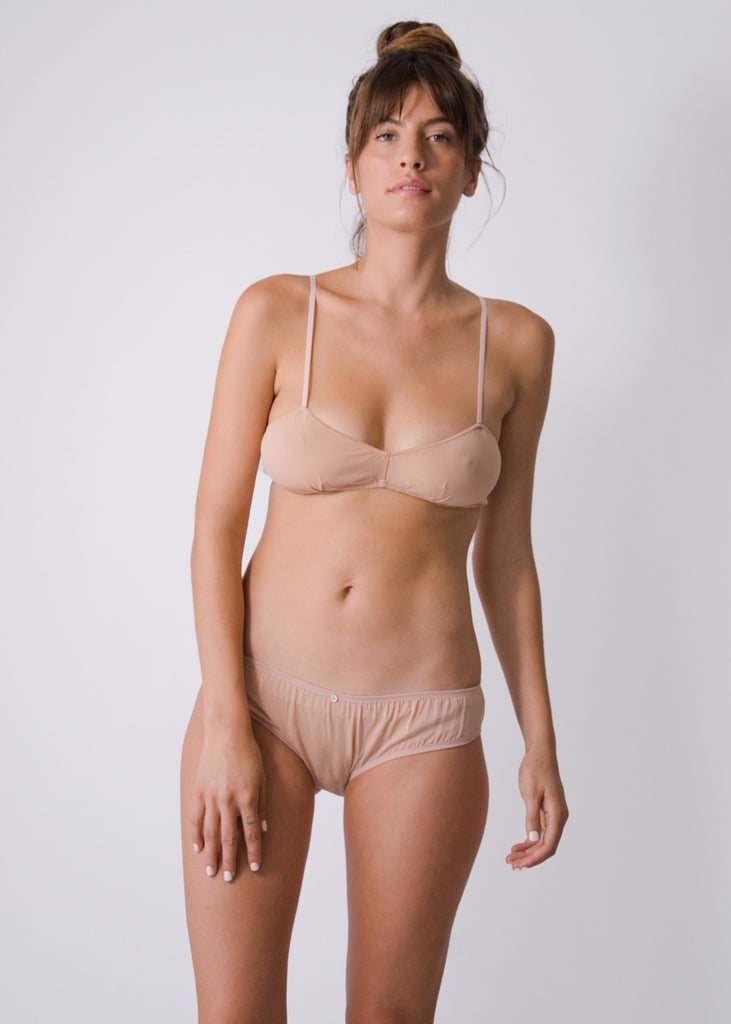 Flora Bikini Brief- Pink - Stretch Silk