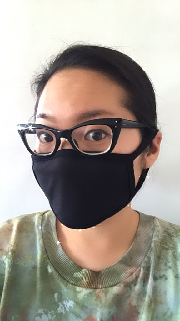 Double Layer Loop Mask - Black Jersey - Pack of 5-botanica workshop