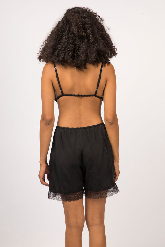 Billie Midi Shorts- Black - Cupro Vegan Silk