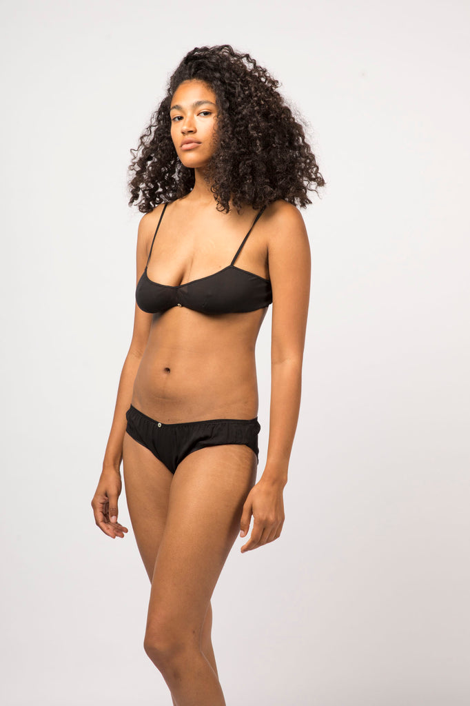 Flora Bikini Brief- Black- Stretch Silk