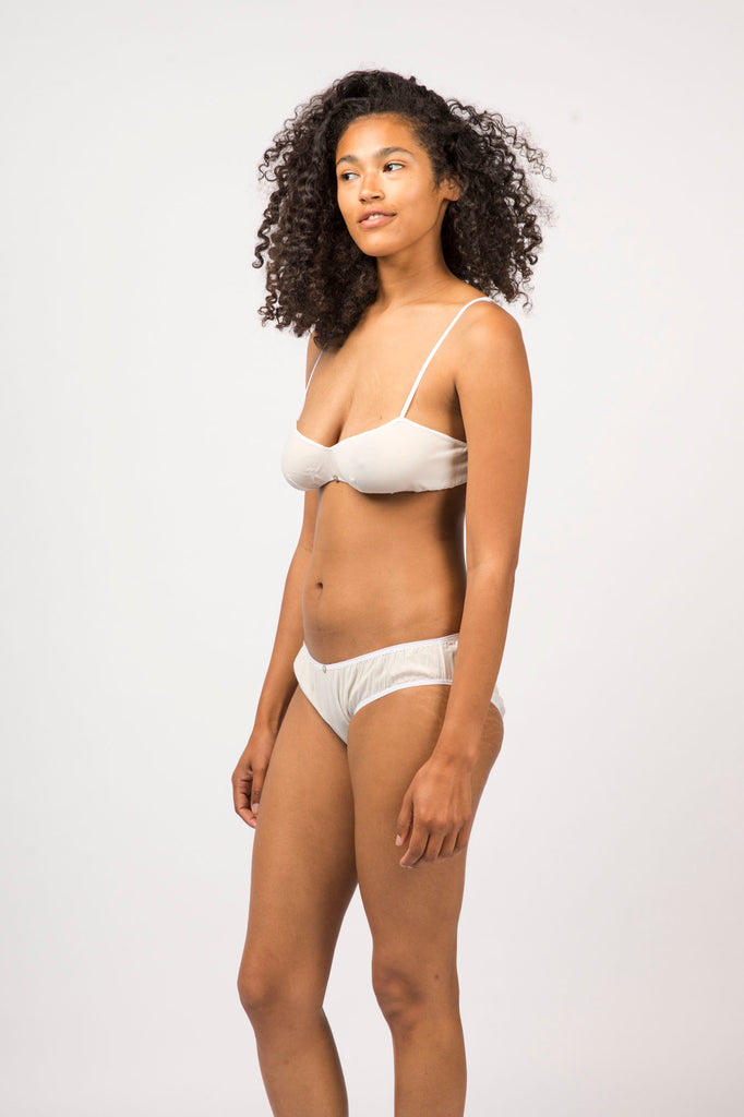 Flora Bikini Brief- White - Stretch Silk