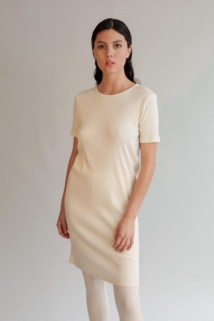 Kaja Rib Dress - Organic Cotton - Natural