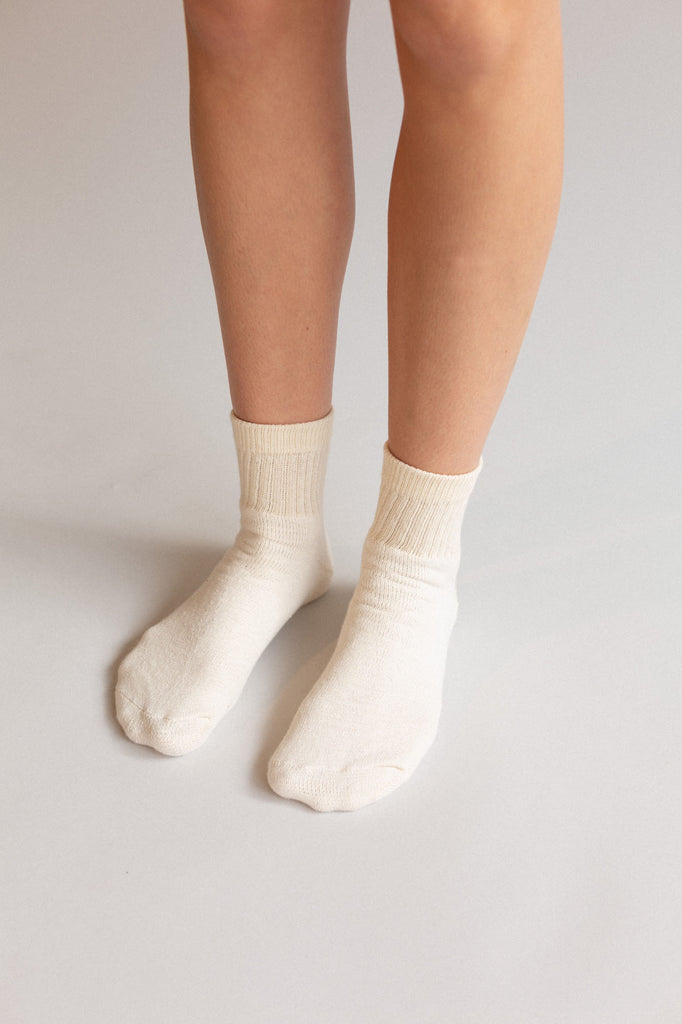 Organic Cotton Ankle Socks, 3 Pairs, Cream