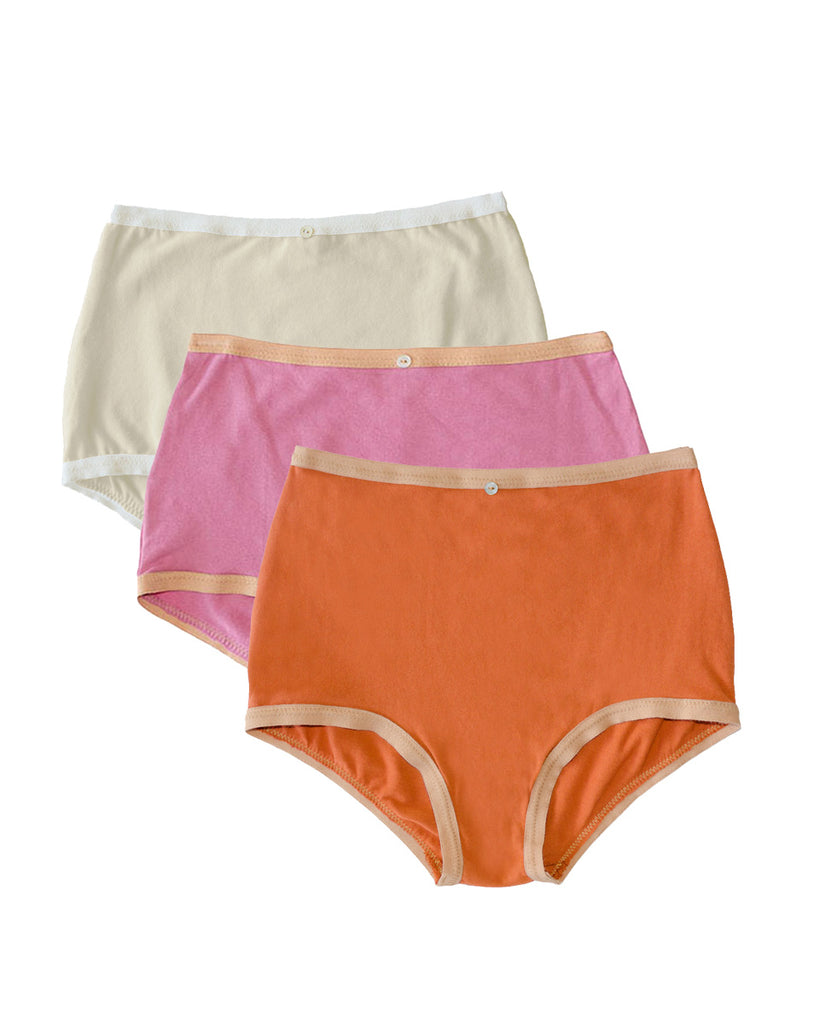 Astra Hi-Waist Brief, Multi Pack of 3- Sunset/Rose/Natural - Organic Cotton