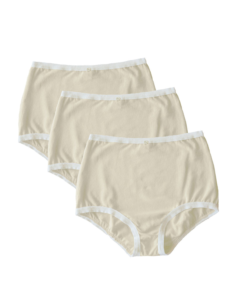 Astra Hi-Waist Brief, Multi Pack of 3- Natural- Organic Cotton
