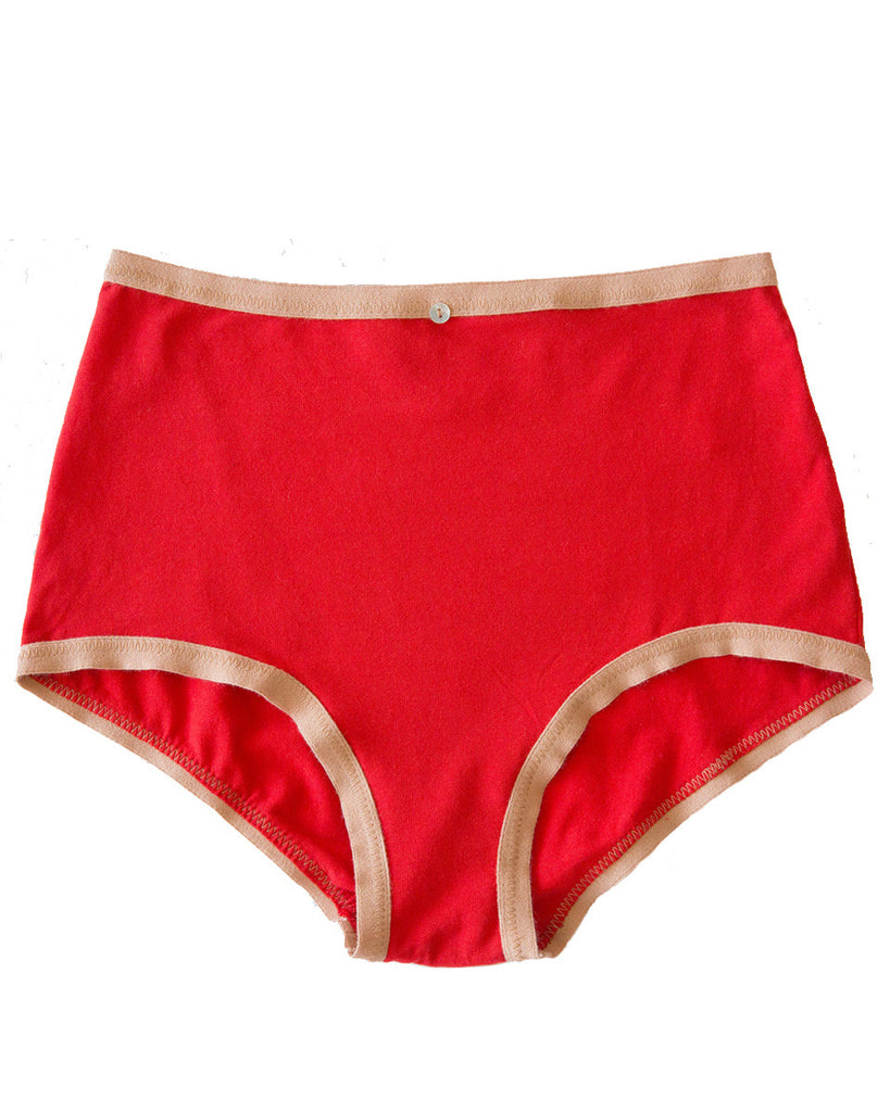 Astra Hi-Waist Brief- Scarlet- Organic Cotton