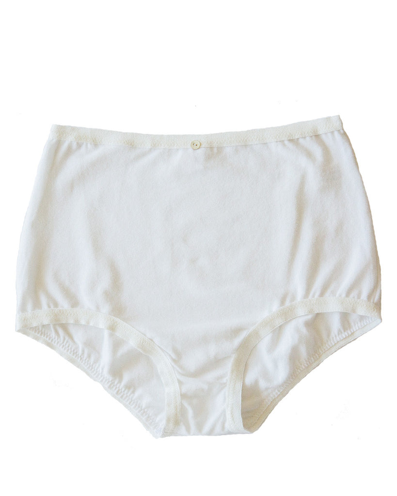 Astra Hi-Waist Brief- White- Organic Cotton