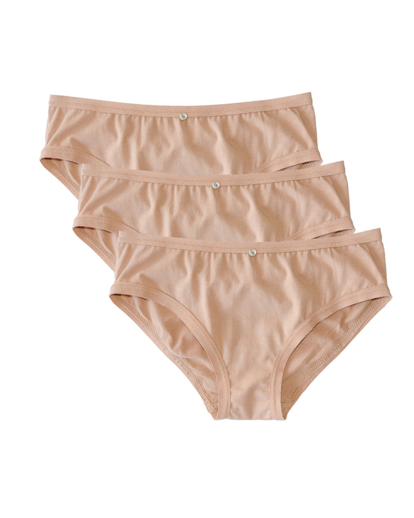 Lila Bikini Brief, Multi Pack of 3- Petal- Organic Cotton