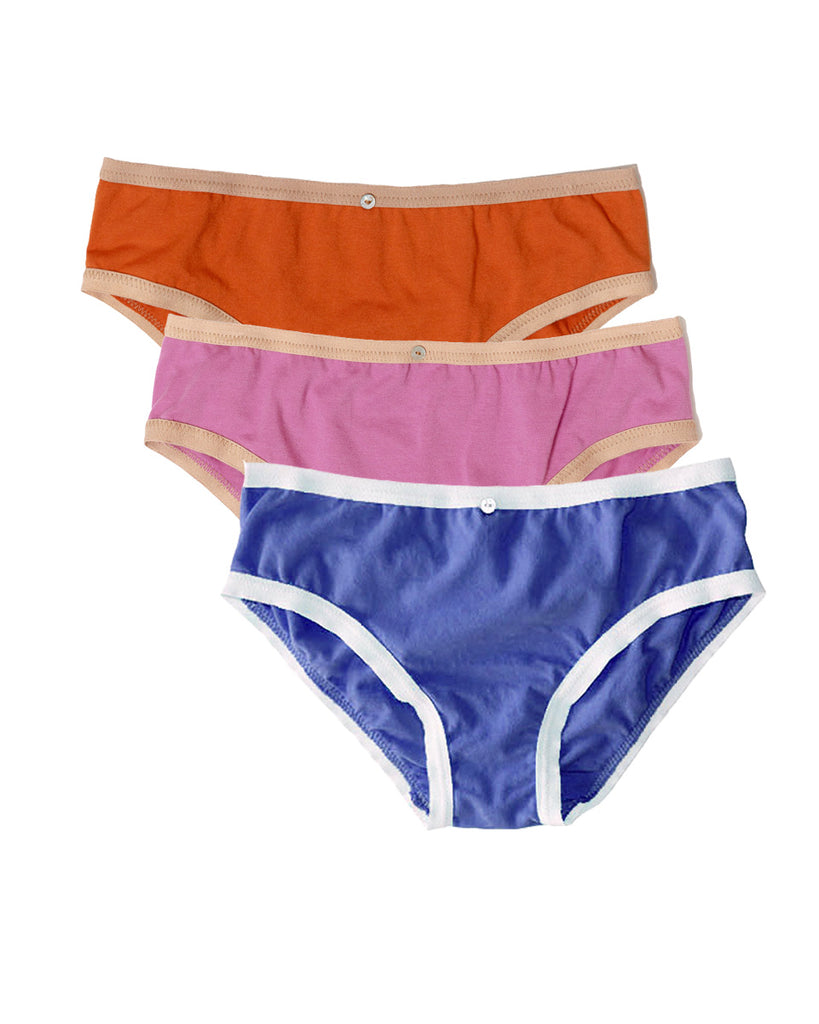 Lila Bikini Brief, Multi Pack of 3- Sunset/Rose/Iris - Organic Cotton
