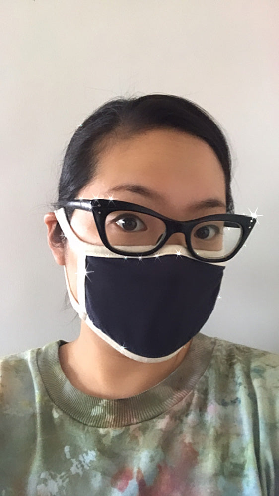 Zero Waste Double Layer Loop Mask - Navy/Natural Jersey