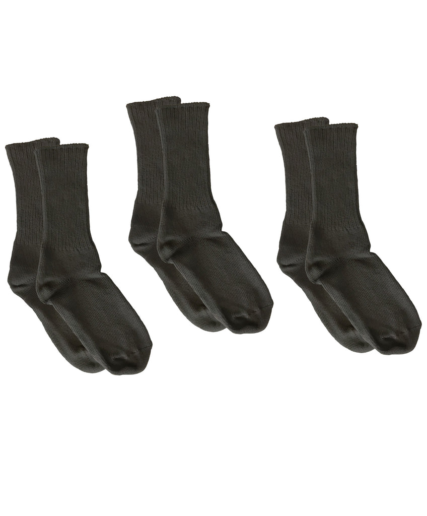 Organic Cotton Crew Socks, 3-Pack, Black